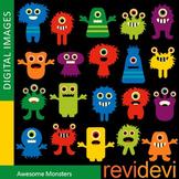 Clip art: Colorful Monsters (cute monster clipart) teacher resource