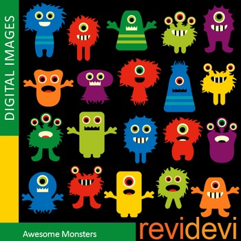 Clip art: Colorful Monsters (cute monster clipart) teacher resource