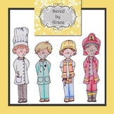 Clip art - Contruction worker, Doctor, Chef, Fire Fighter - Career Day
