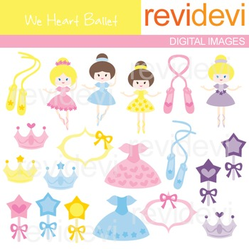Clip art Cute Ballerina (ballet shoes, tiara, dress, magic wands) clipart