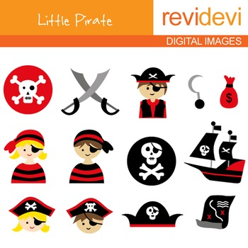 Clip art Cute Pirate (kids, skulls) red, black