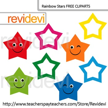 FREE Clip art Cute Rainbow Stars (set of 8) for Pre-K and