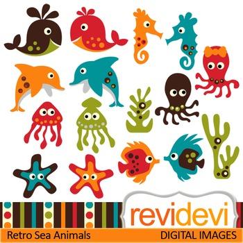 Clip art: Cute Sea Animals (dolphin, shark, fish, jellyfih, starfish) sea life