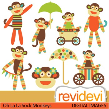 Clip art Cute Stripe Sock Monkeys