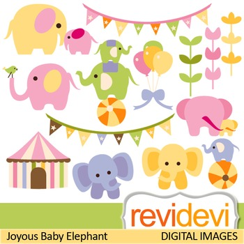 Clip art: Cute elephants (circus, baby elephants) clipart for teachers