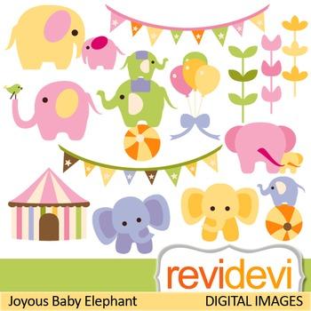 Clip art: Cute elephants (circus, baby elephants) clipart