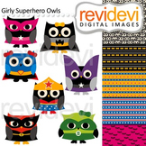 Clip art: Cute girly superhero owls (with coordinating digital papers)