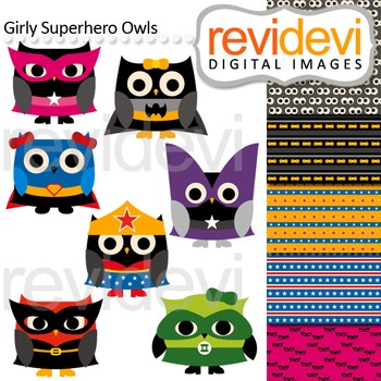 Clip art: Cute girly superhero owls (with coordinating dig