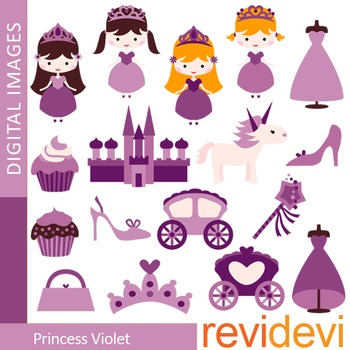 Clip art Cute princesses in purple (princess, dress, tiara, castle)
