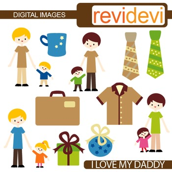 Clip art Dad and kid, daughter, son (father's day clipart)