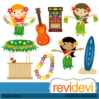 Clip art: Dancing Hawaiian Girls (hula girls, tiki, hawaii, guitar) clipart