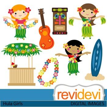 Clip art: Dancing Hawaiian Girls (hula girls, tiki, hawaii