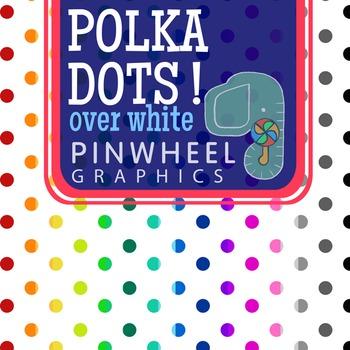 Clip art Digital Paper-Large 20x15 Polka Dot on White