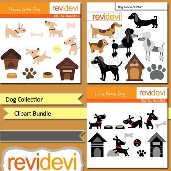 Clip art Dog collection (pet, poodle, dog house) clipart bundle