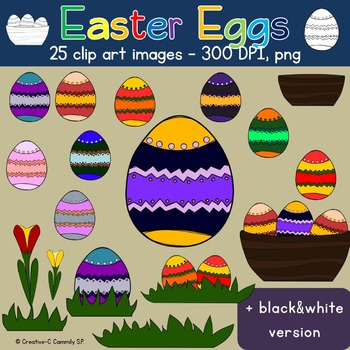 Clip art Easter Eggs - Spring Flowers & Easter Nests - Commercial Use