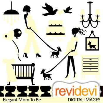 Clip art Elegant Mom To Be (pregnant woman clipart, maternity, pregnancy) 07390