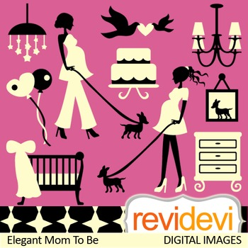 Clip art Elegant Mom To Be (pregnant woman clipart, matern