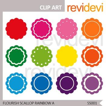 Clip art Flourish Scallop Rainbow Label - Set of 12 - Commercial use resource