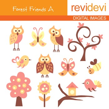 Clip art Forest Friends A (owls, birds, trees) nature clipart
