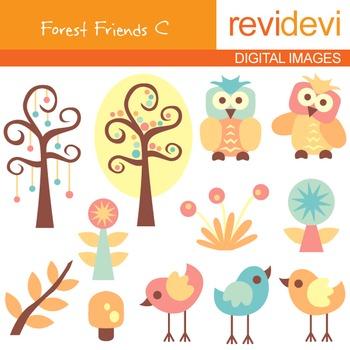 Clip art Forest Friends C (nature, owls, birds, trees) cli