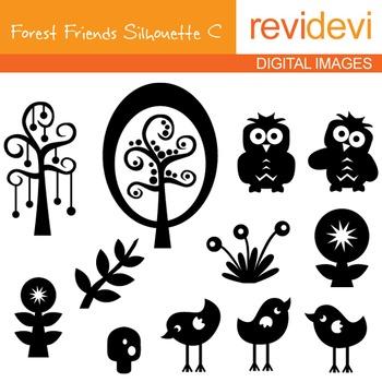 Clip art Forest Friends Silhouette C 07089 (birds, owls, trees)