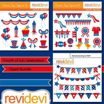 Clip art Fourth of July Celebration Bundle (3 packs)