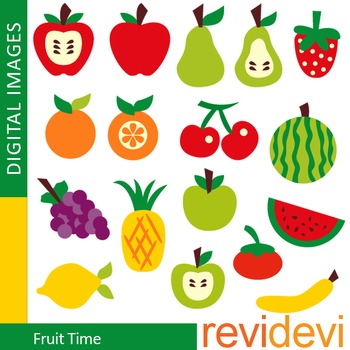Clip art Fruits (apple, pear, watermelon, orange, cherry, grape)