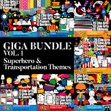 Clip art Giga Bundle Vol. 1 - Superhero & Transportation Themes