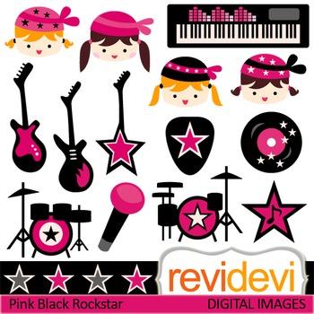 Clip art Girl Rockstar Pink Black (music class, guitar, drum, keyboard)