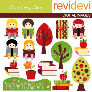 Clip art Girls Book Club (kids reading) cute clipart