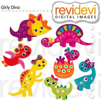 Clip art Girly Dino 07465 (cute dinosaurs clipart)