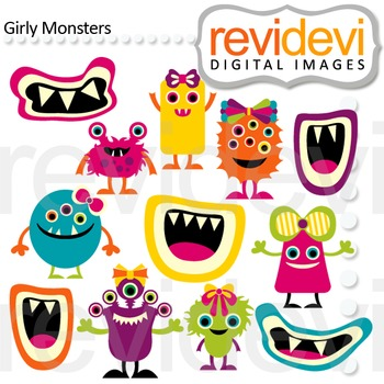 Clip art Girly Monsters (cute monster, grins) clipart 07466
