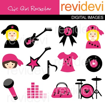 Clip art Girly chic rockstar (pink, black, guitar, drum) music class clipart