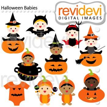 Clip art Halloween Babies (jack o lantern, pumpkin) 08121