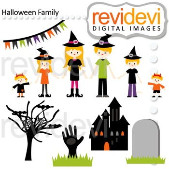 Clip art Halloween Family (parents, kids, mom, dad, brothers, sisters) 08127