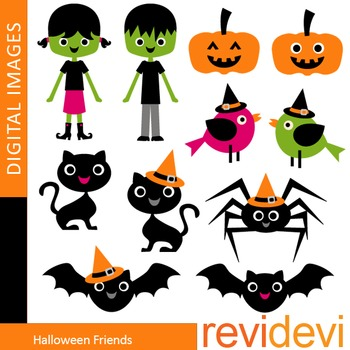 Clip art Halloween Friends (cats, bats, birds, kids) clipa