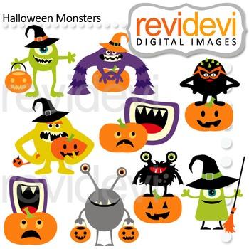 Clip art Halloween Monsters (cute monsters with pumpkins) 08120