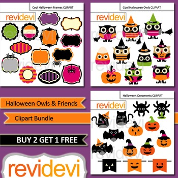 Clip art: Halloween Owls, Frames/ Labels, Jack O Lantern (3 packs)