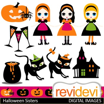 Clip art Halloween Sisters (girls, black cats, haunted house) clipart 08108