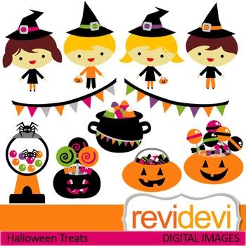 Clip art Halloween Treats (kids with witch hats, candy, pumpkins) 08109