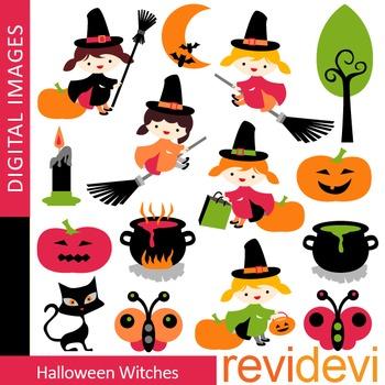Clip art Halloween Witches (girls, broom, pumpkin) clipart 08099