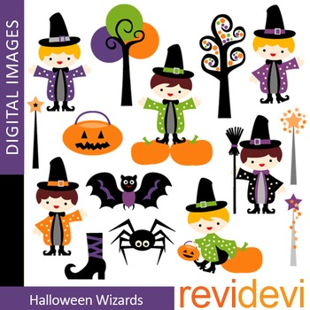 Clip art Halloween Wizards (boys, magician) clipart 08100