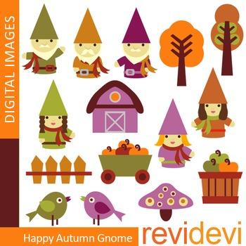Clip art Happy Autumn Gnome (digital graphics for teachers) 07341