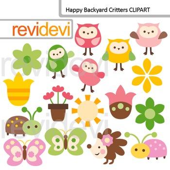 Clip art Happy Backyard critters (owls, butterflies, flowers) digital clipart