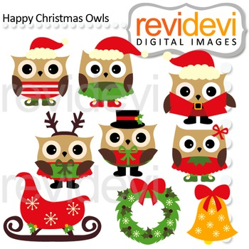 Christmas owls clip art