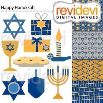 Clip art Happy Hanukkah 08132 (blue, yellow) clipart