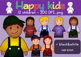 Clip art Happy Kids - School Children Clipart - Commercial Use