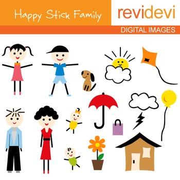 Stick family clip art: parents, kids