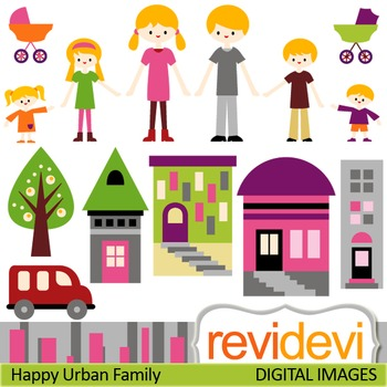 Clip art Happy Urban Family (mom, dad, brothers, sisters) parents, kids, 07393