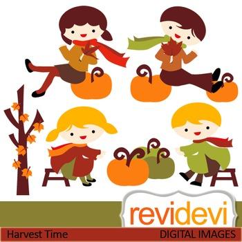 Clip art Harvest Time 07425 (boys, girls, pumpkin) fall, autumn clipart